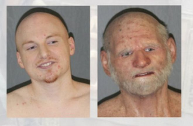 composite image of Shaun Miller how he really looks versus disguised as an old man with a beard and white eyebrows, age spots and a prosthetic nose