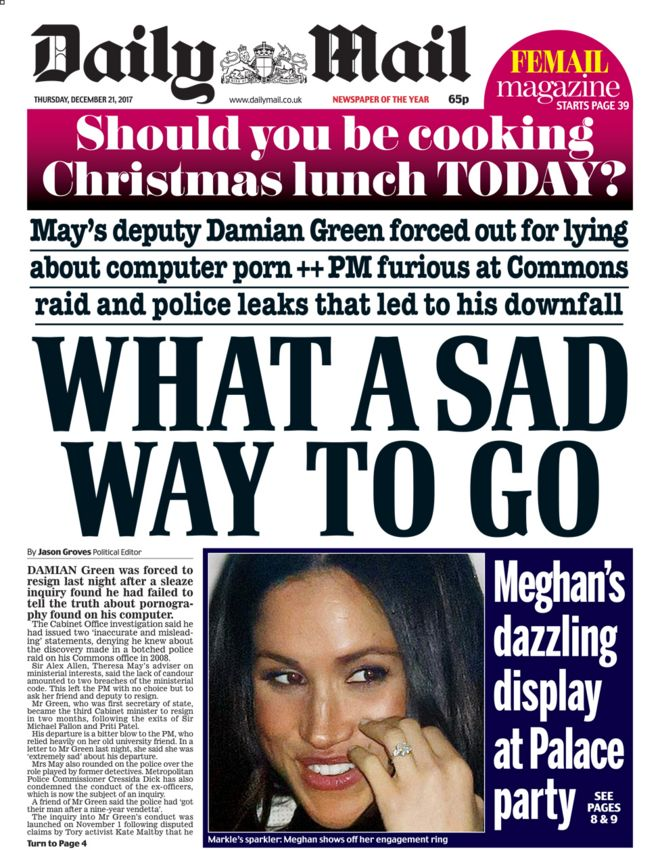 Daily Mail front page 21/12/2017