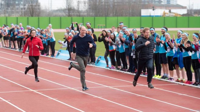 Duke and Duchess of Cambridge and Prince Harry taking part in a training session