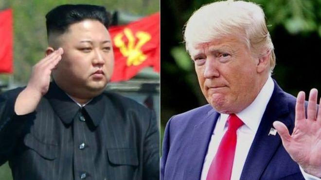 Kiongozi wa Korea Kaskazini Kim Jong un na mwenzake wa Marekani Donald Trump