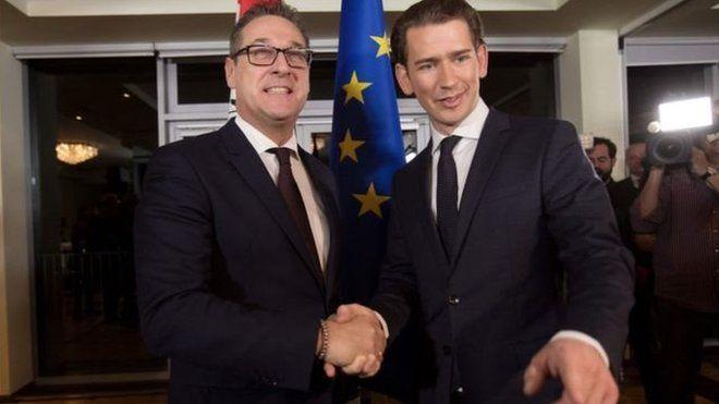 Sebastian Kurz (sağda) ve Avusturya Özgürlük Partisi'nin lideri Heinz-Christian Strache koalisyon için anlaştı.