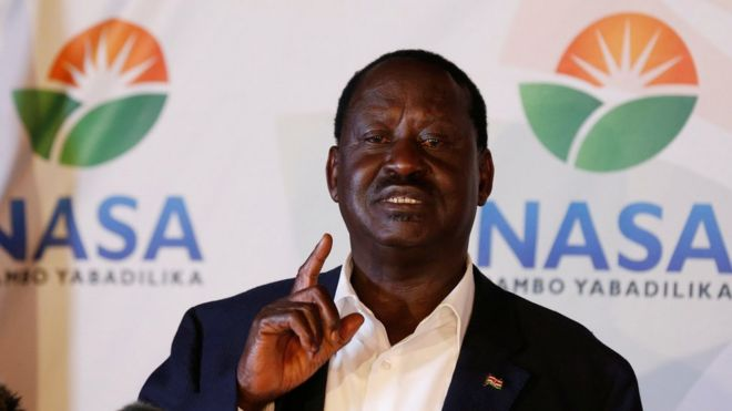 Raila Odinga at news conference, behind him the logo of his movement the National Super Alliance - 9 August