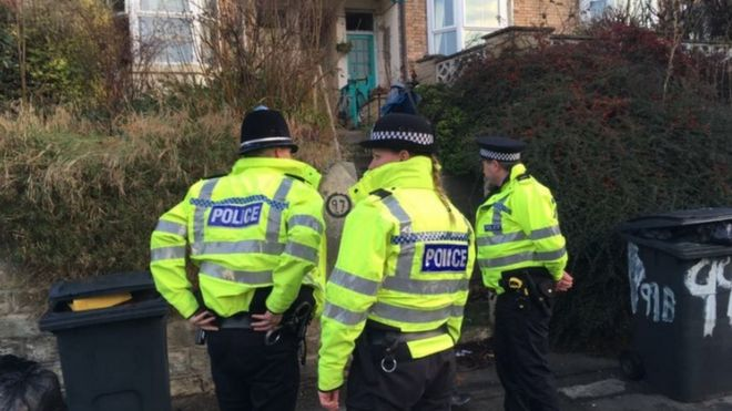 Police outside house in Sheffield