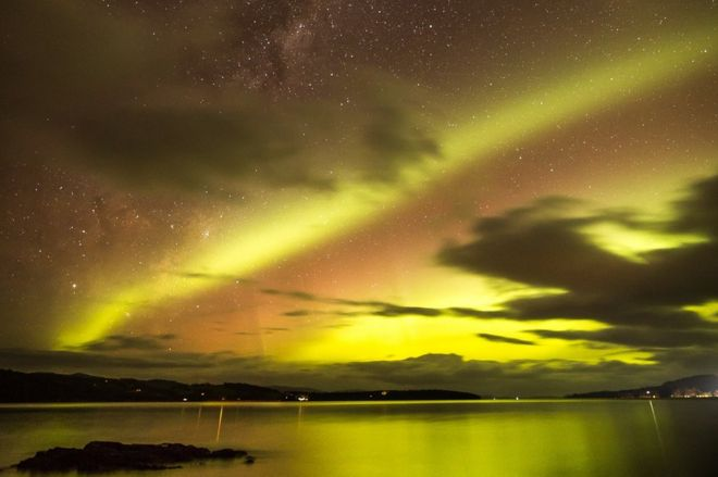 The Southern Lights seen from Tasmania's Drip Beach on Sunday