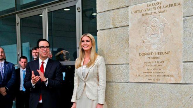 وزير المالية الأمريكي وإيفانكا ترامب في افتتاح السفارة الأمريكية في القدس