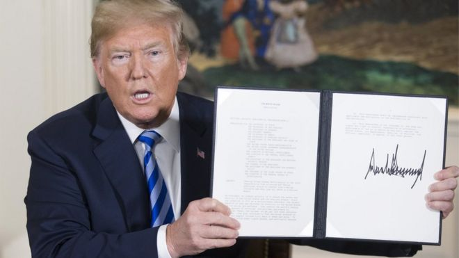 Image result for trump holding up the document where he signed the withdrawal of the Iran Nuclear Deal