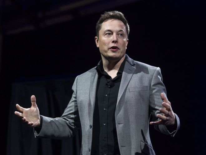 tesla motors ceo elon musk unveils the company s newest products in hawthorne california
