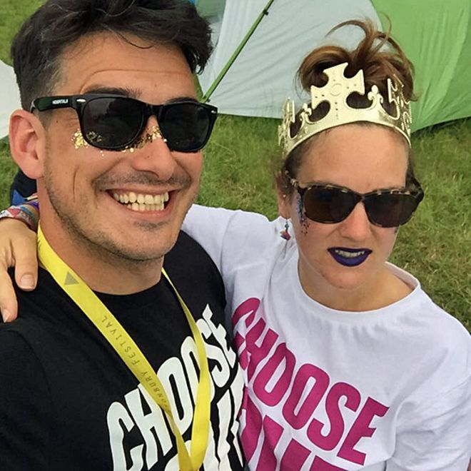 Tom and Kirsty at Glastonbury in 2017