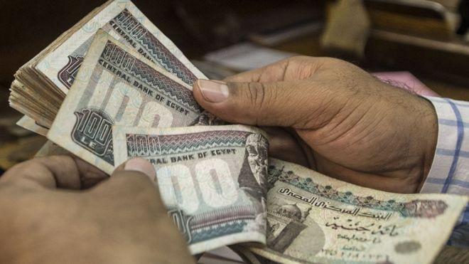 رجل يعد أوراق مالية فئة مئة جنيه مصري