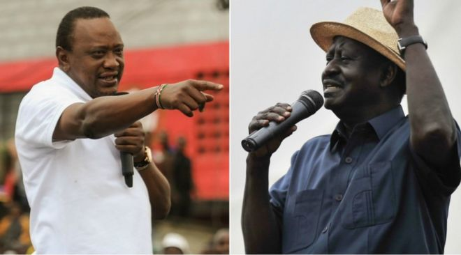 President Uhuru Kenyatta and opposition leader Raila Odinga side by side in collage addressing supporters in casual dress, with microphones