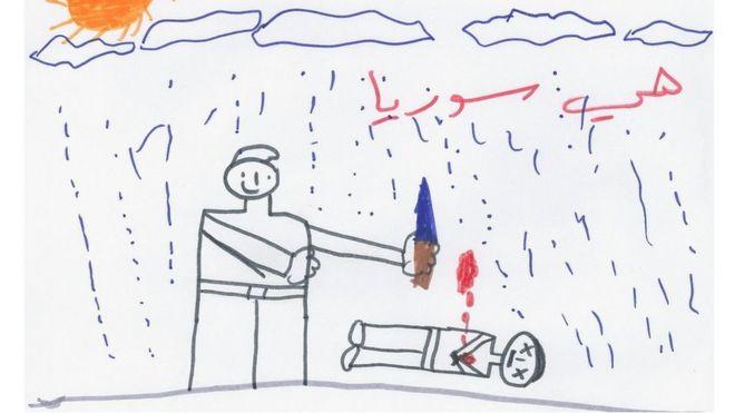 """Este desenho mostra um adulto de pé ao lado de um cadáver. """"Isto é a Síria"""", diz a frase escrita acima do desenho."""