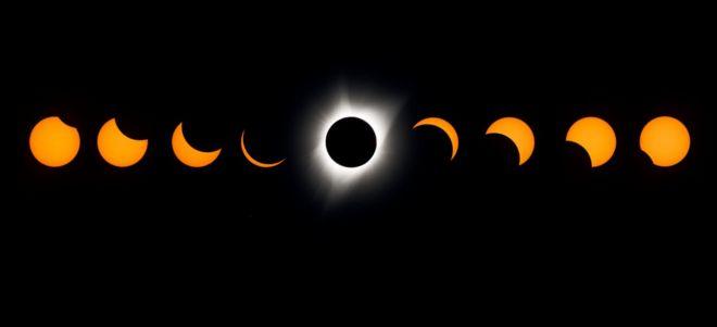 Lowell Gözlemevi Güneş Tutulması Deneyiminden görülen toplam güneş tutulmasının bileşik bir görüntüsü 21 Ağustos 2017'de Madras, Oregon'da gerçekleşti.