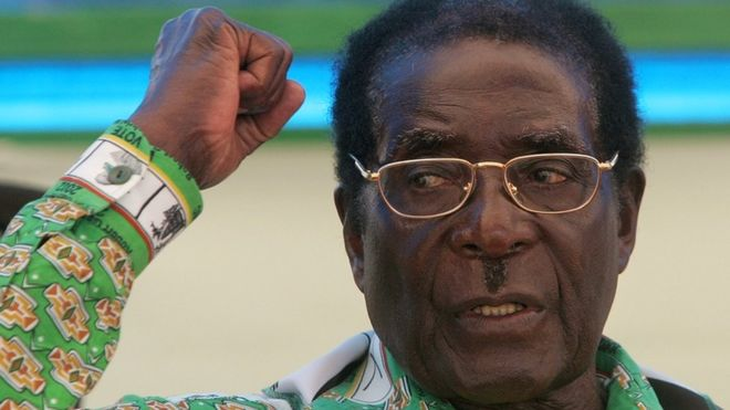 Former President Robert Mugabe at a rally in Harare in March 2008