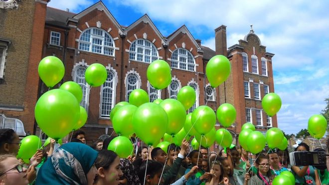 Balloons in Grenfell green