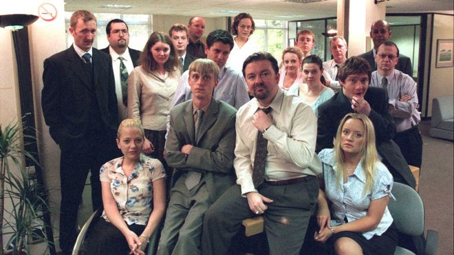 pictures of the office. Ricky Gervais (centre) With The Cast Of Office Pictures G