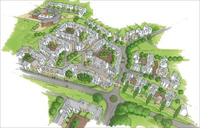 artists impression of the aerial view of the proposed village centre - Housing Plans