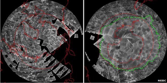 Earliest Satellite Maps Of Antarctic And Arctic Seaice BBC News - Satellite map of antarctica
