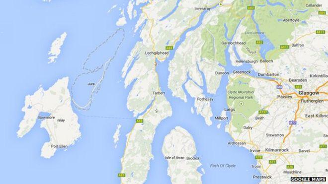 Google maps wipes out scottish island of jura bbc news missing jura on google maps gumiabroncs Choice Image