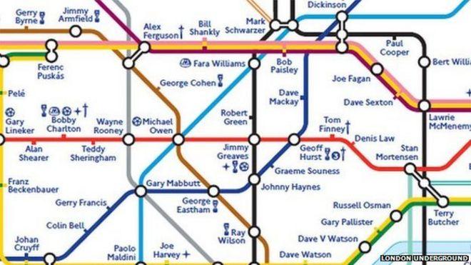 Footballers take over London Underground map BBC News – Underground Tube London Map