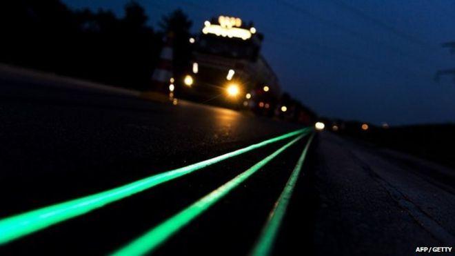 Glow in the dark road markings