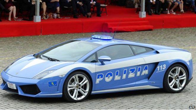 lamborghini gallardo sports car belonging to the italian state police at celebrations marking belgian national day