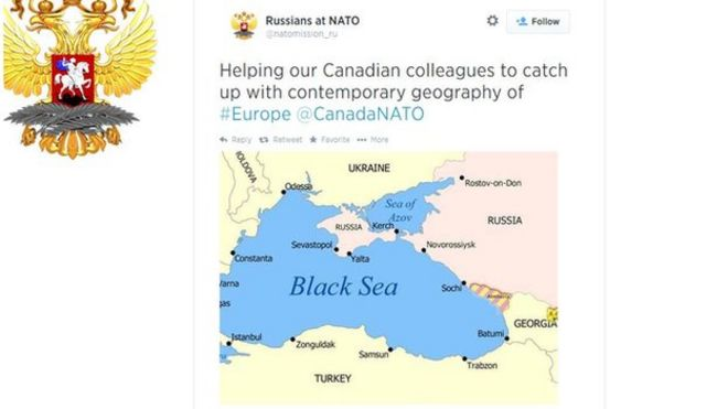 BBCTrending Canada and Russia in Twitter fight over map BBC News – Map Ukraine Fighting