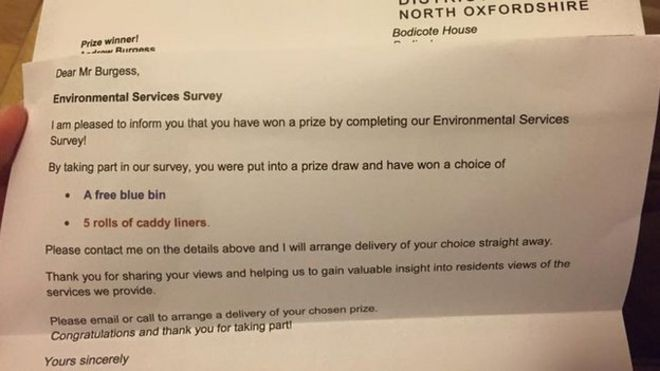 Cherwell District Council free bin prize sparks giggles BBC News – Prize Winner Letter Template