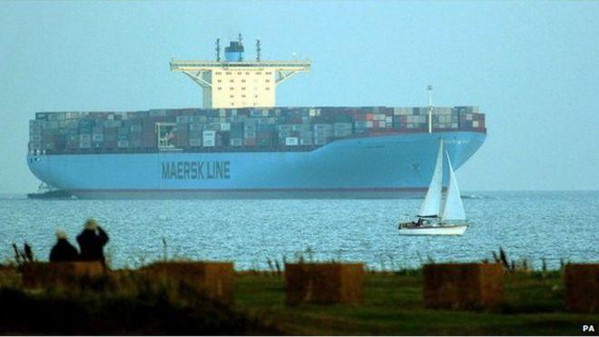 MS Emma Maersk pulls into Felixstowe