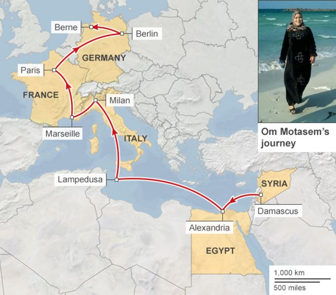 Who are the mediterraneans migrants bbc news map showing the journey of om motasem and her family gumiabroncs Choice Image
