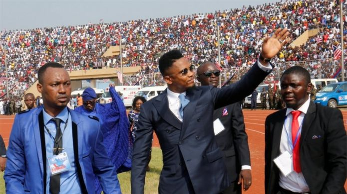 Cameroon international soccer player Samuel Eto'o Fils arrives for Liberia's new President George Weah swearing-in ceremony at the Samuel Kanyon Doe Sports Complex in Monrovia, Liberia, January 22, 2018.