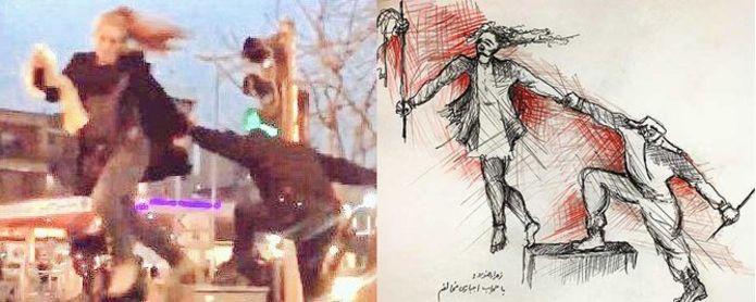 از راست؛ طرحی که زهرا رهنورد از خشونت علیه دختر انقلاب کشیده است و تصویر اتفاق