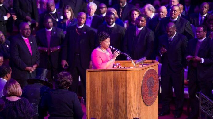 دختر مارتین لوترکینگ در ممفیس به مناسبت پنجاهمین سالگرد کشته شدن پدرش سخنرانی کرد.