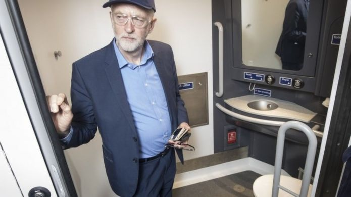 Jeremy Corbyn in a toilet