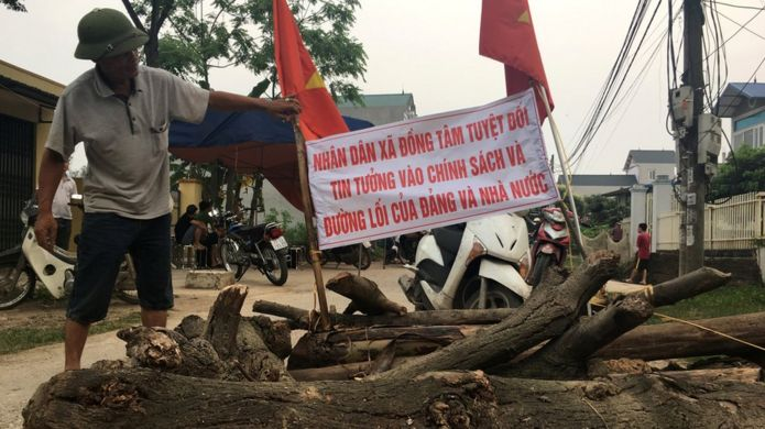 A street is seen blocked in Dong Tam during a land dispute protest on the outskirts of Hanoi, Vietnam April 20, 2017