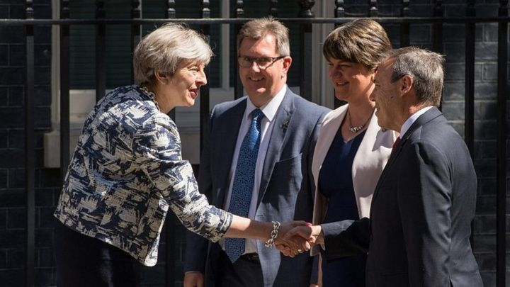 Image result for Conservatives agree pact with DUP to support May government