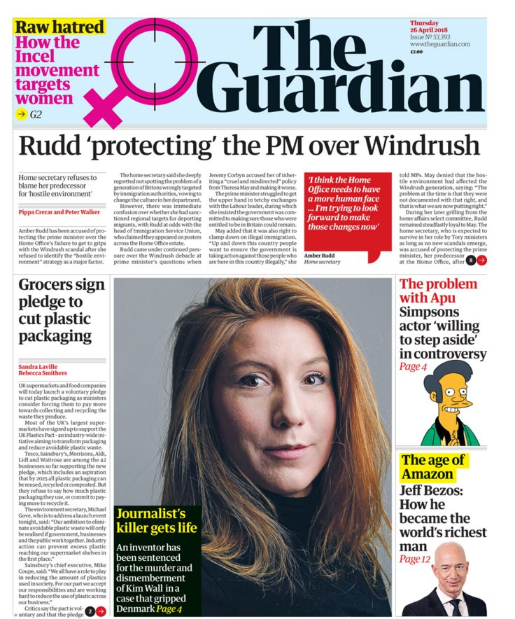 Guardian front page - 26/04/18