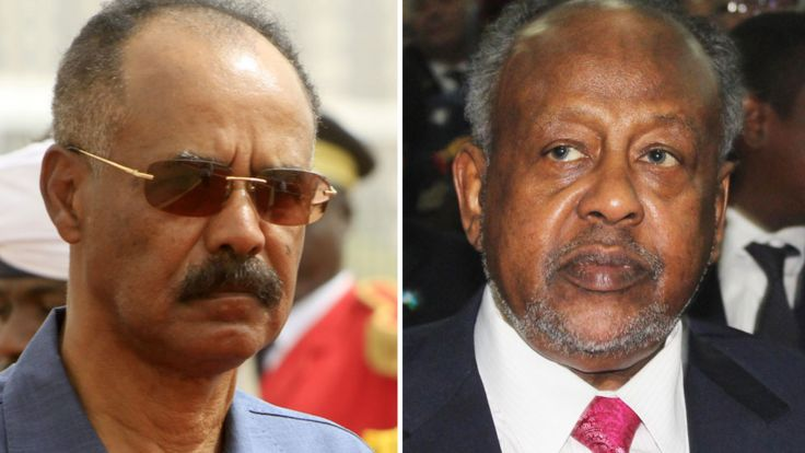 Eritrea's President Isaias Afewerki, left, and Djibouti's Ismail Omar Guelleh