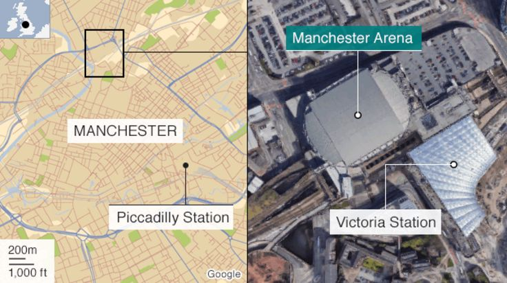 Map of Manchester Arena location