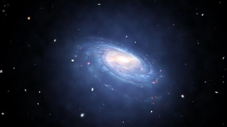 В художественном произведении изображено гало (голубое свечение) темно материи, которое выходит за видимые пределы галактики.