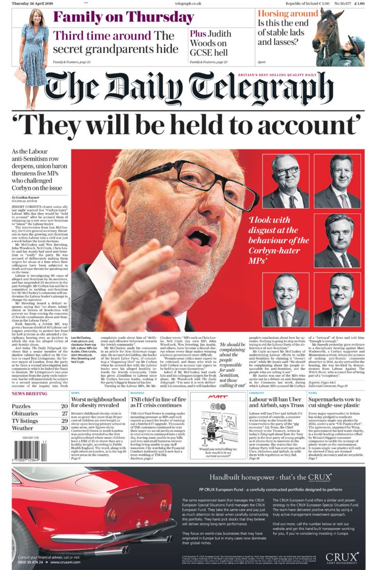 Daily Telegraph front page - 26/04/18