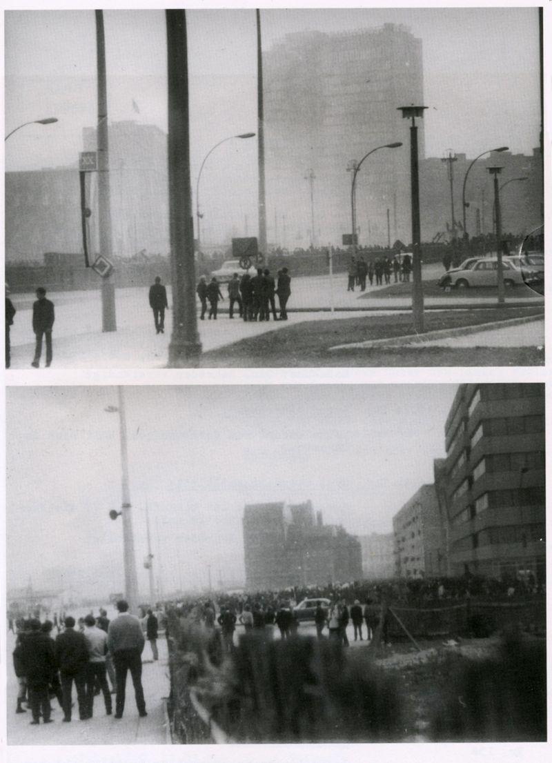Doğu Berlin'deki kalabalıkların Staling fotoğrafları, Rolling Stones'u duymayı umuyor