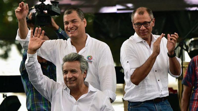 Lenín Moreno, Jorge Glas y Rafael Correa todos juntos.