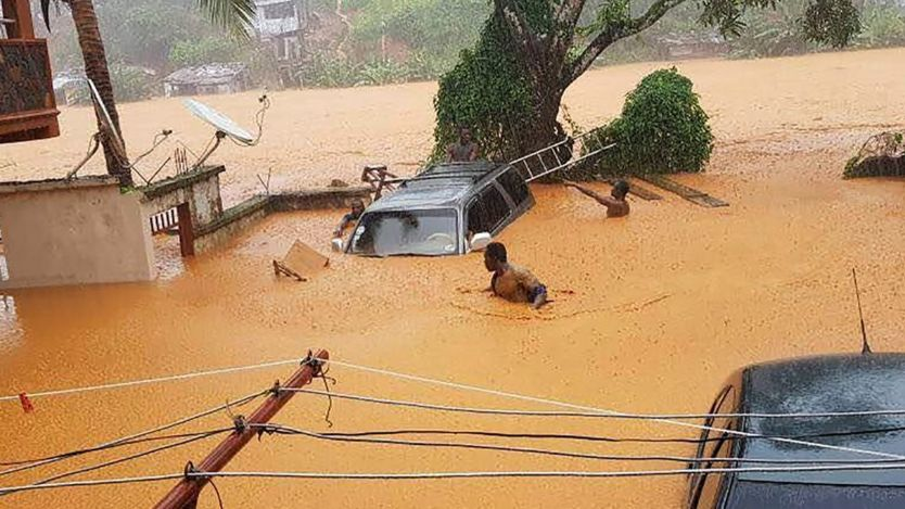 Flooded streets in Regent near Freetown, 14 August 2017.