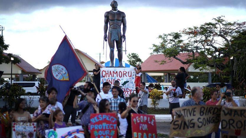 Manifestação pacífica em Guam
