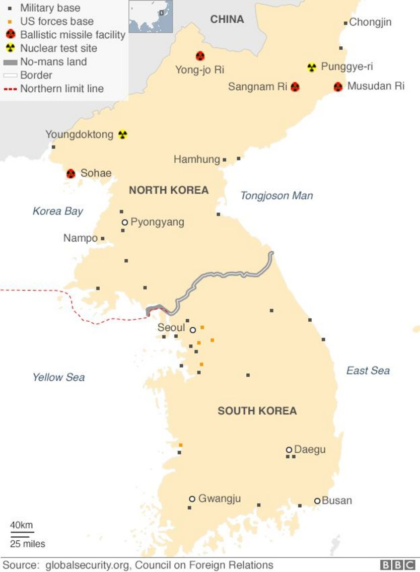 Bản đồ quân sự bán đảo Triều Tiên