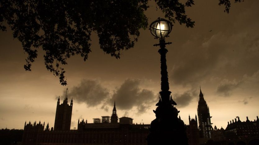Gloomy and slightly orange sky over the Houses of Parliament