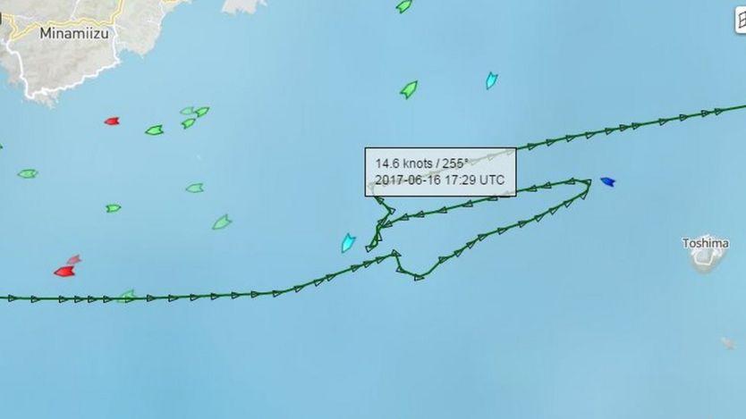 USS Fitzgerald ile çarpışmadan önce ACX Crystal gemisinin rotası - 16 Haziran 2017