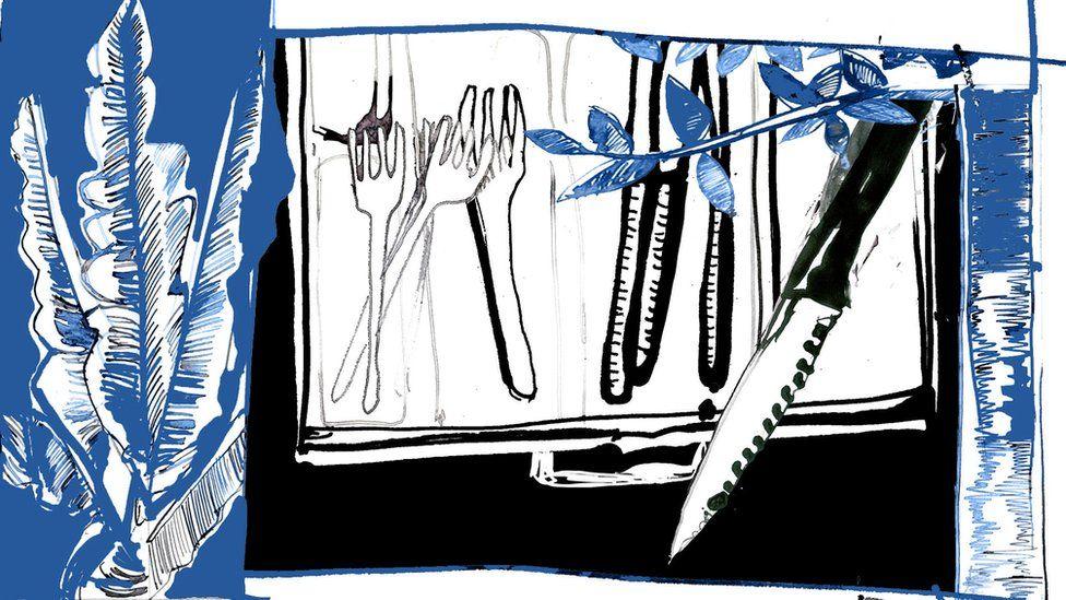Ilustración mostrando un cuchillo de cocina.