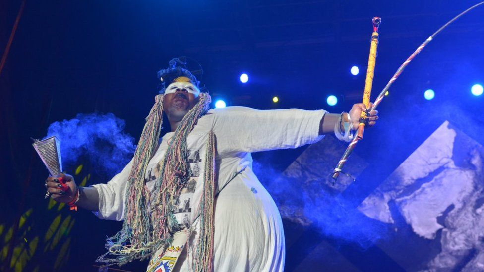 Traditional healer, artist and activist Albert Ibokwe Khoza performing at AfroPunk Johannesburg