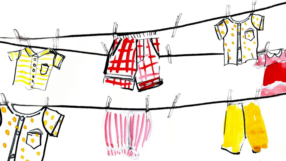 çamaşır ipinceki çocuk kıyafetlerinin çizimi